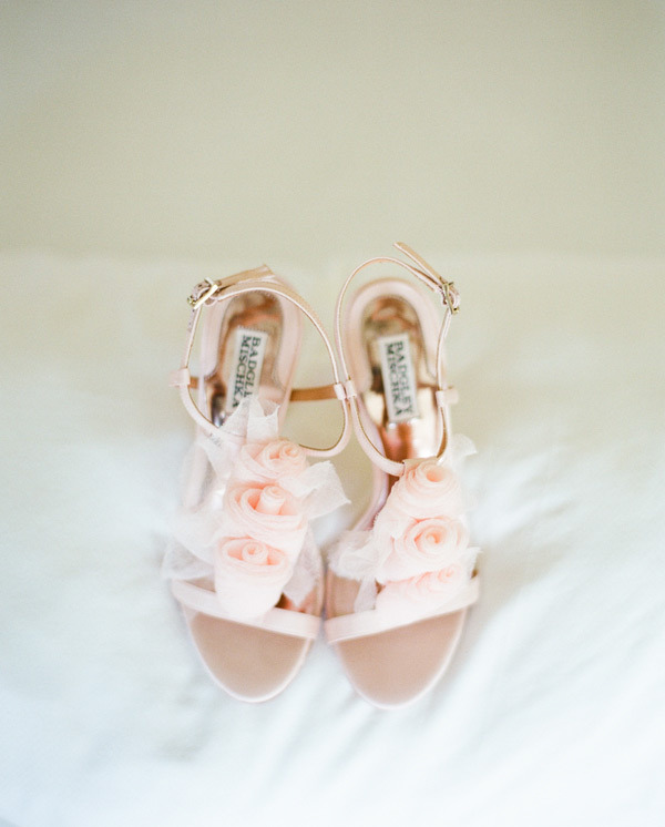 pastel pink Badgley Mischka wedding shoes