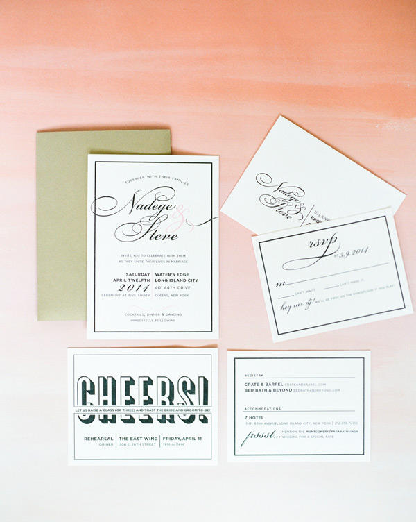 letter press wedding stationary