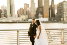 bride and groom in gantry park